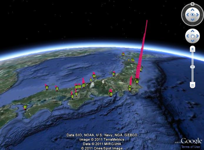 Google Earth Real Time Radiation Monitoring of Japan