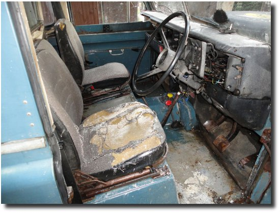 Fire damaged Land Rover Series 3 interior