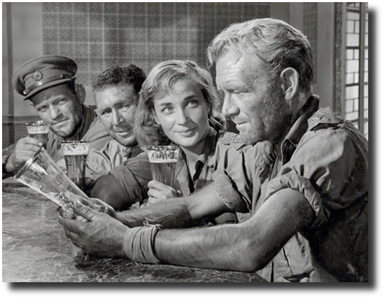 Main cast at bar scene from film Ice Cold in Alex