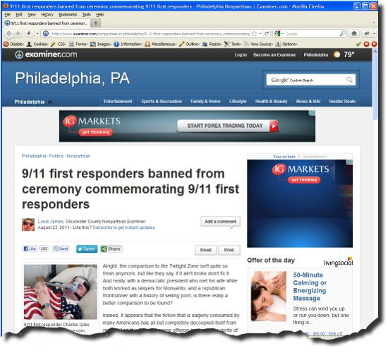 image of webpage for 9/11 First Responders from the Examiner.com