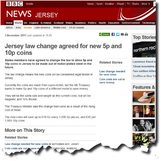 BBC Story about new coinage made mostly from Steel