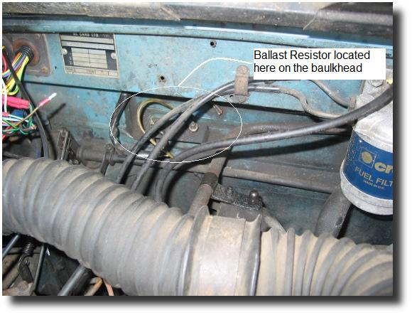Image of location of the Ballast Resistor