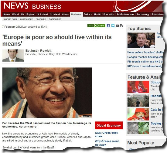 Image of Dr Mahathir from BBC article