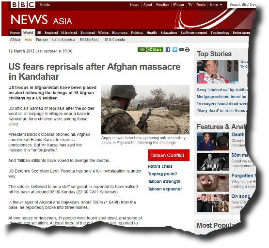 Image of BBC article Massacre in Kandahar