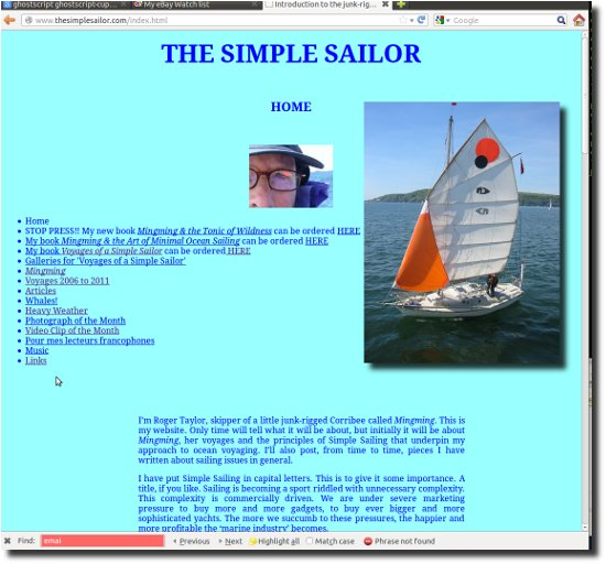 Image of Roger Taylors website www.thesimplesailor.com