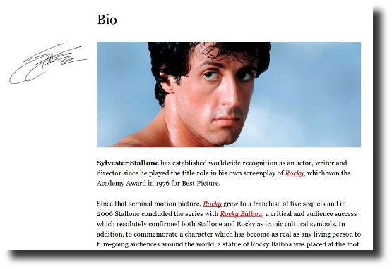 Image linking to Sylvester Stallone website