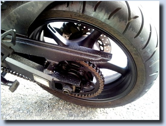 Image of oily bike tyre