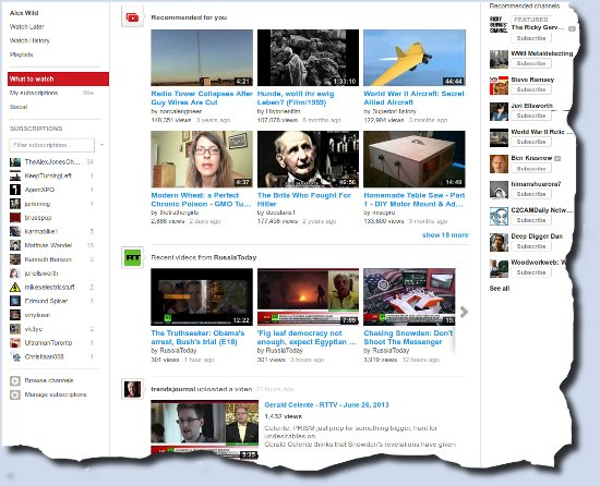 Image of YouTube home page
